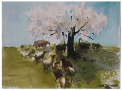 Lana Temina - Blooming Tree (watercolor)