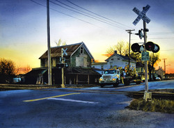 John Bayalis - Railroad Crossing (watercolor)