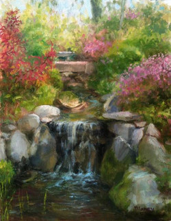 Blaney Harris - Water Garden, Kentford Farm (plein air oil)