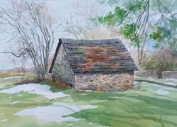 Jane Ramsey - Springhouse Thaw, Chadds Ford, PA (plein air watercolor)