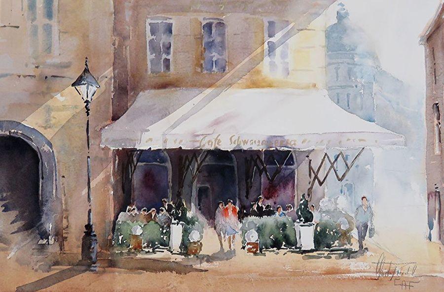 Christa Friedl - Cafe Schwarzenberg, Vienna (watercolor)