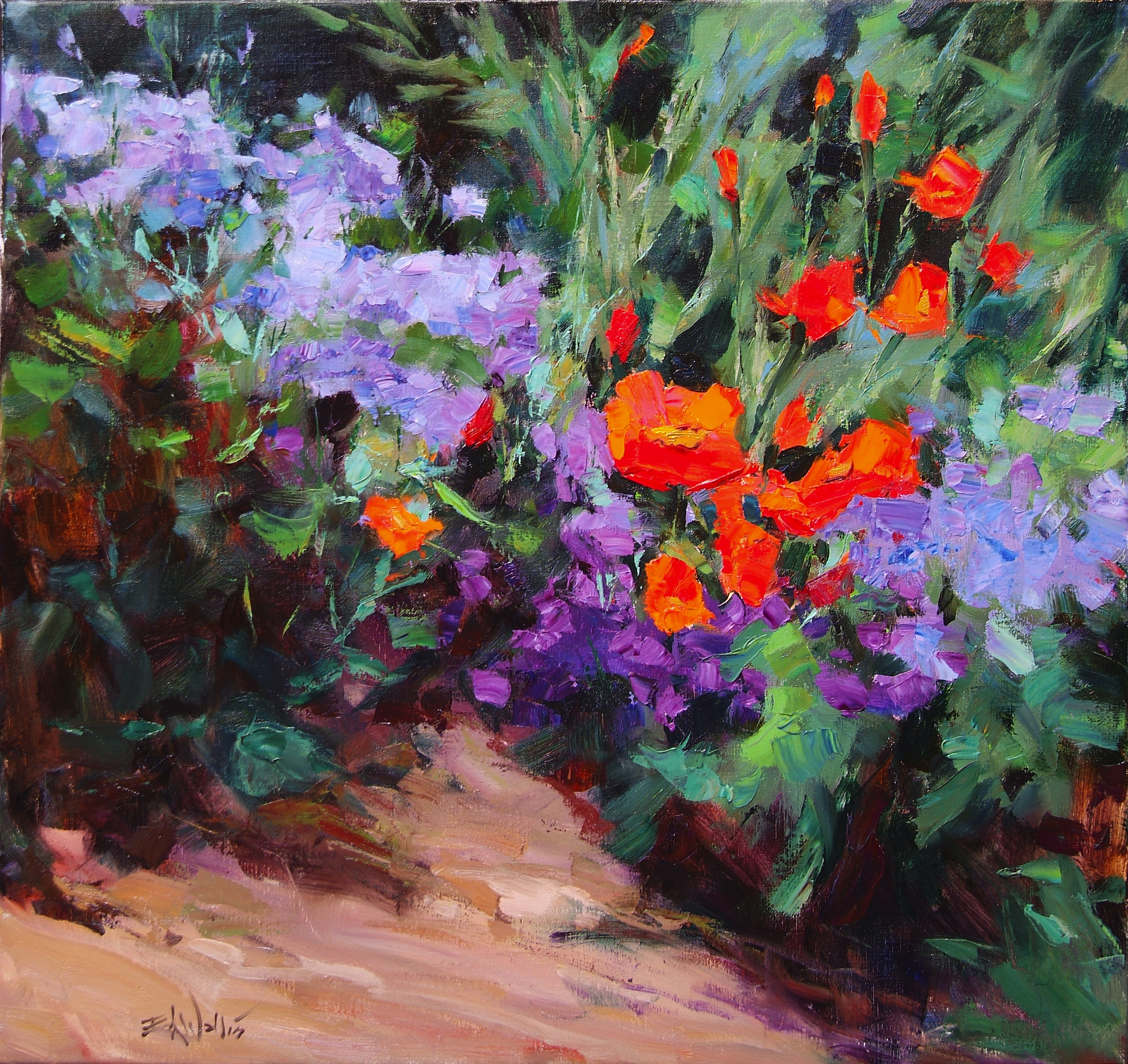 Eric Wallis - Poppies with Violets