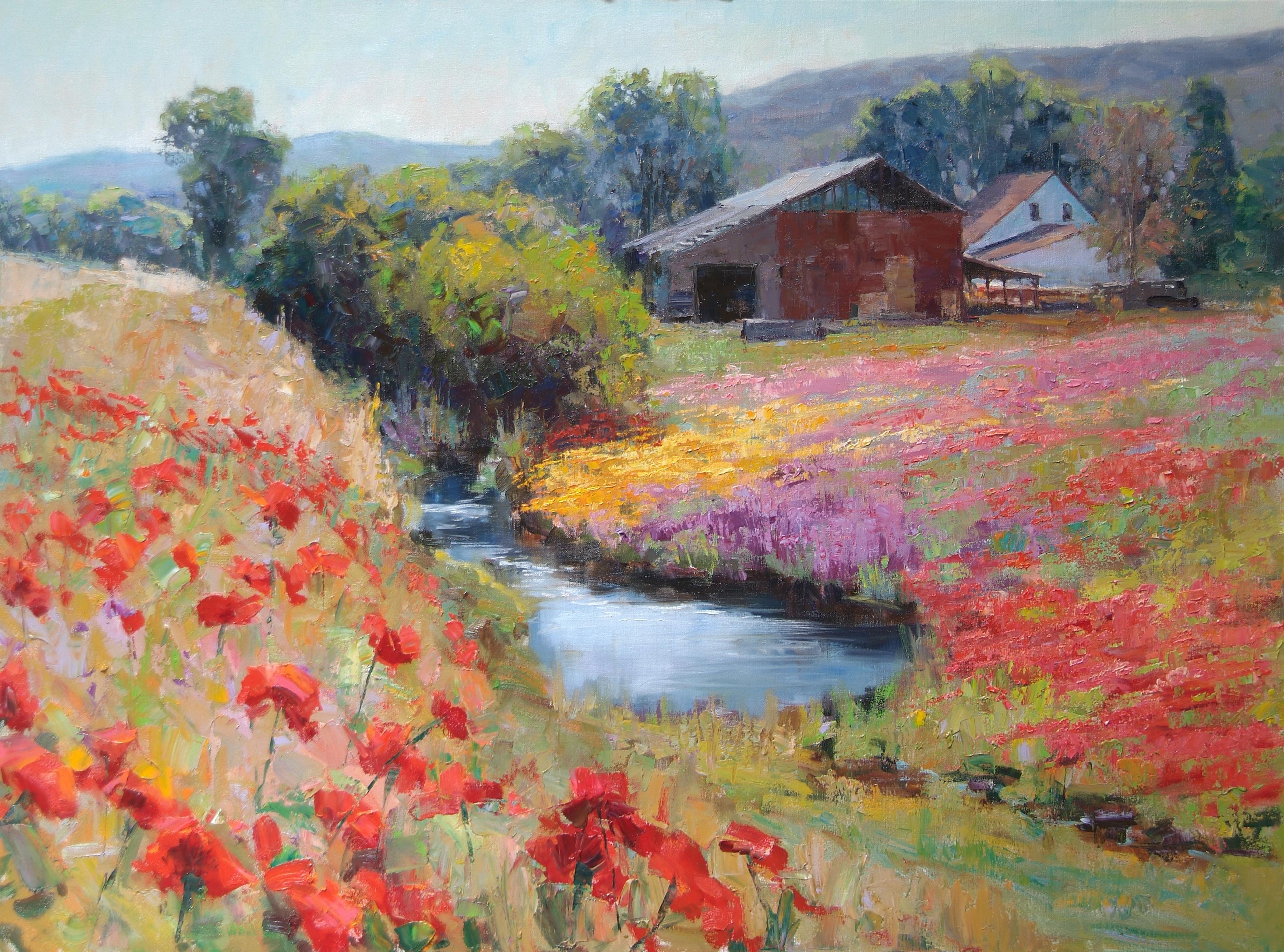 Eric Wallis - Barn Pond and Poppies