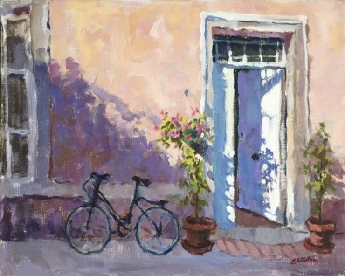 Connie Winters - Bicycle at Mill Door (giclee print)