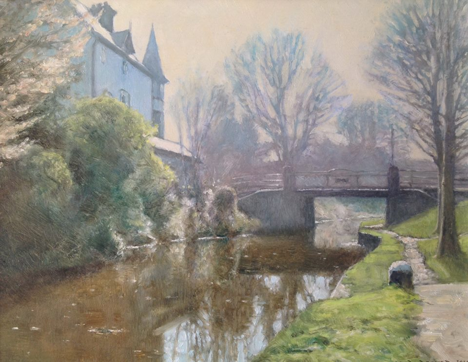 David Deamer - Kiln Bridge, on the Basingstoke Canal (oil)