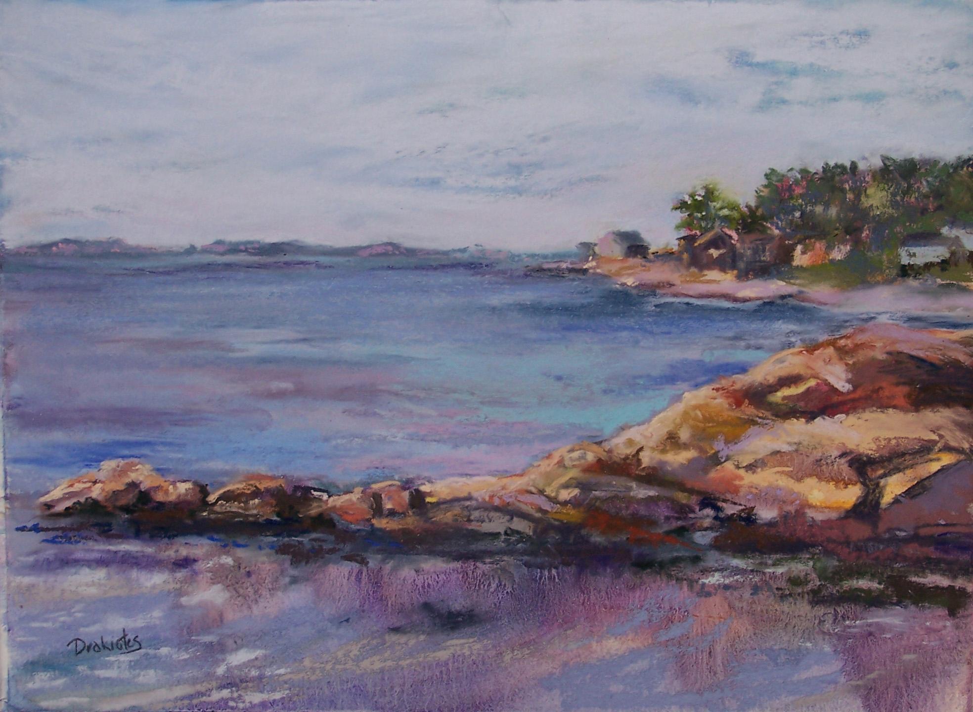 Alicia Drakiotes - Rocky Point Afternoon (plein air pastel)