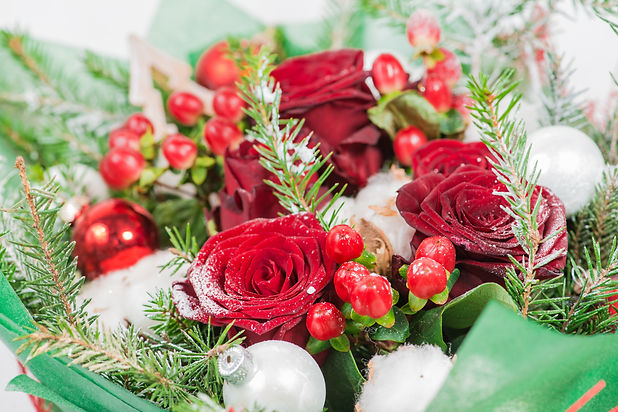 Close-up of Christmas bouquet with flowe