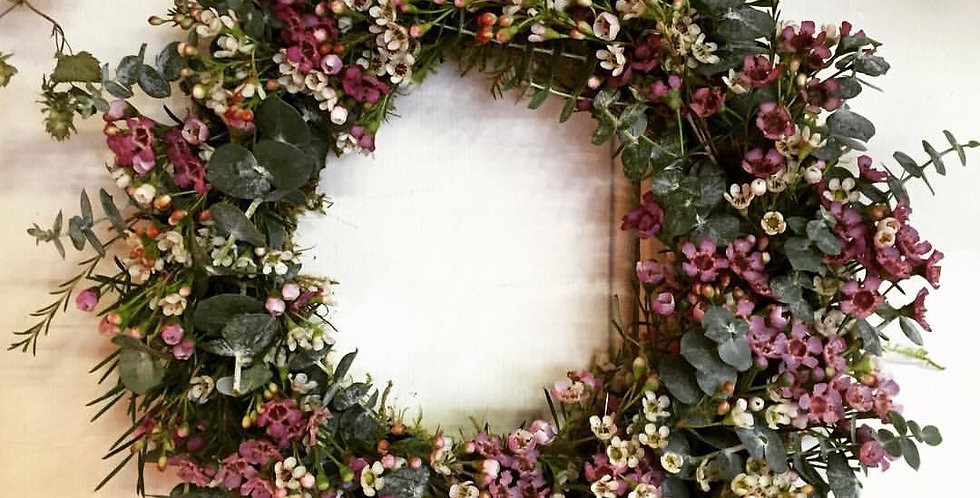 Waxflower and Eucalyptus Wreath.