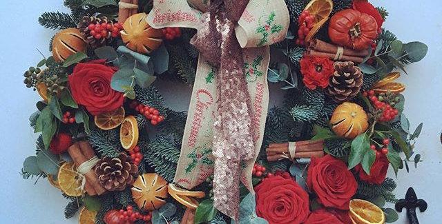 Luxury Red Rose Festive Wreath.