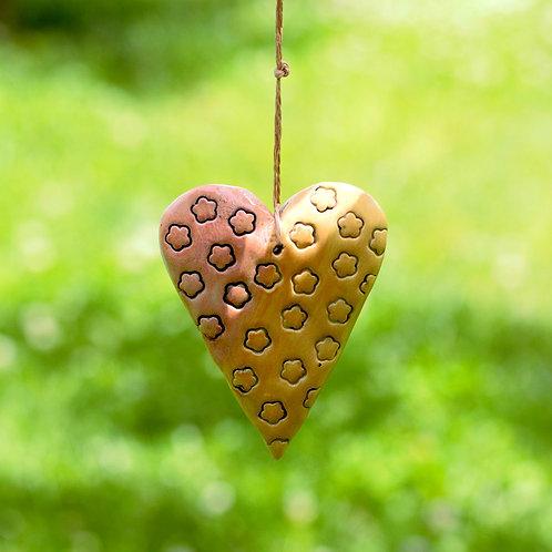 Seramik Kalp - sarı pembe