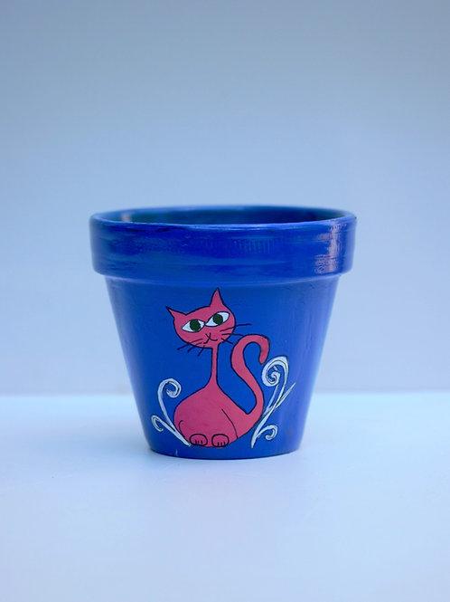 Boyalı Saksı - Pembe kedi