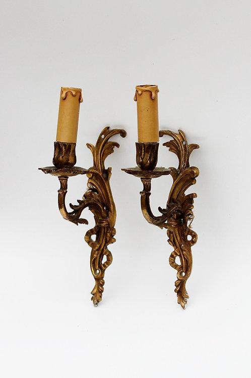 Antika Çift Bronz Aplik