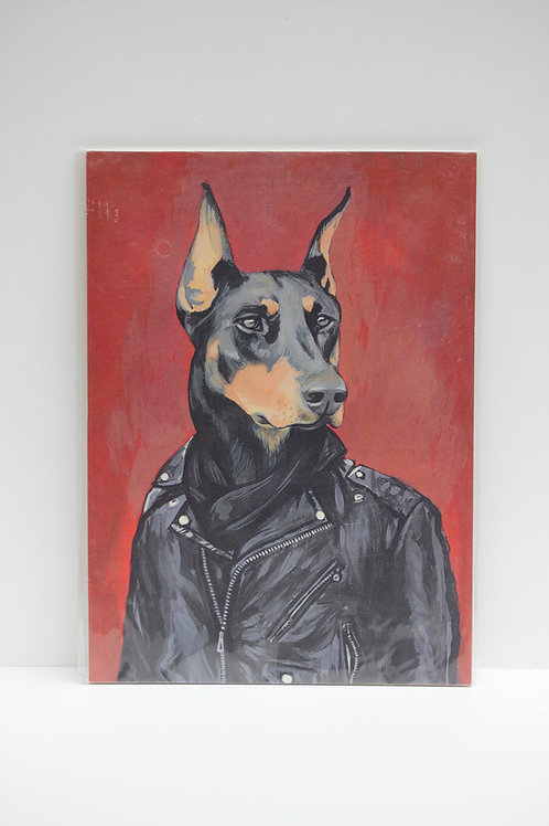 Vintage portre -köpek ceketli