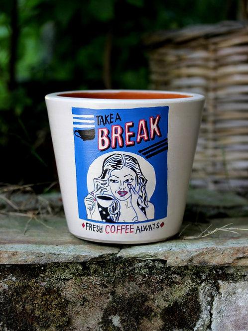 Boyalı Saksı - Fresh Coffee Always
