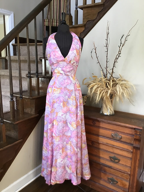 70s Halter Maxi - Pink Orchid & Gold Floral with Cape