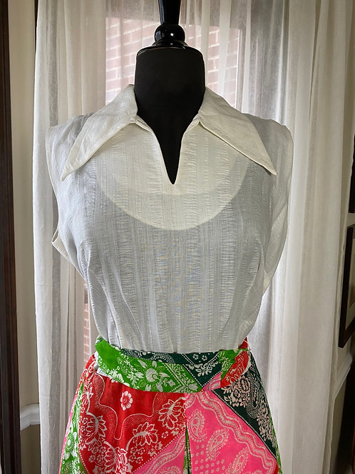 1970s Bandana  Dress - Sleeveless with pointed collar