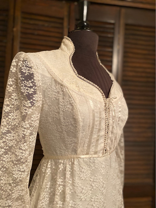 70s Style Formal or Wedding Gown in Lots of Lace