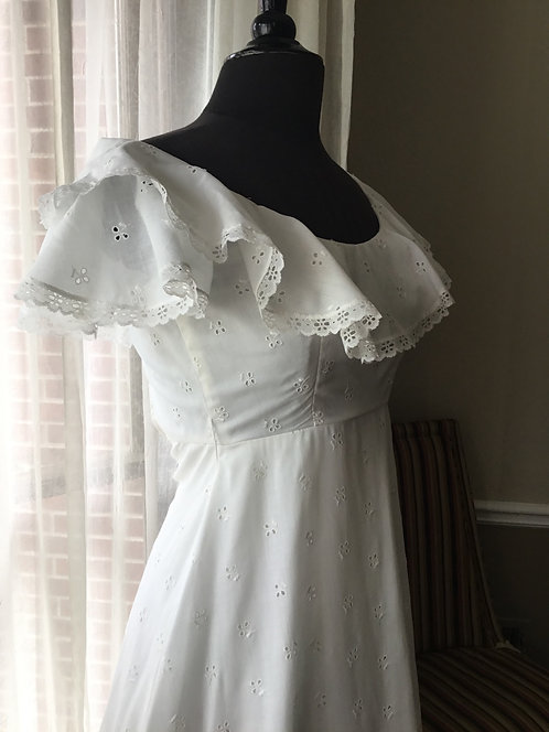 1970s White Formal with Eyelet (Sax Fifth Avenue)