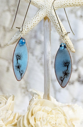 Earrings - Corn Flower on Lt. Blue