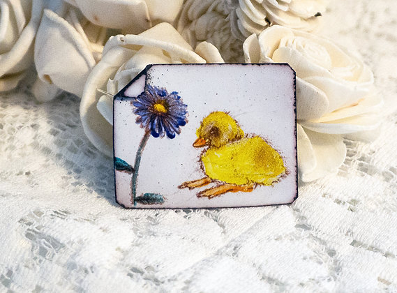 Hand-painted jewelry - Duckling Pin