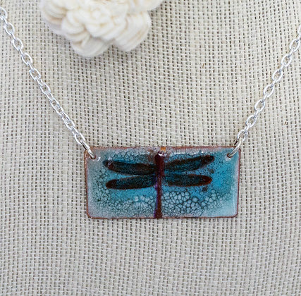 Dragonfly on Aqua - Necklace