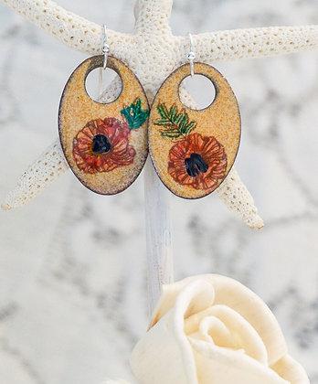 """Earrings """"Poppy on coral"""""""