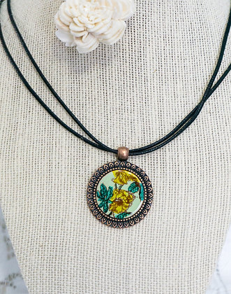 Sm. framed pendant - Yellow rose on lt. green