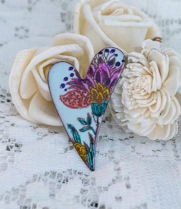 Lg. swept heart pin - flora on blue