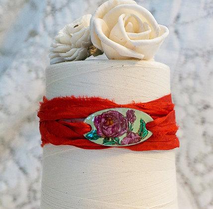 """Wrap bracelet """"Rose on Lichen green w/rust wrap"""""""