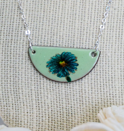 Hand painted jewelry - Blue daisy on green