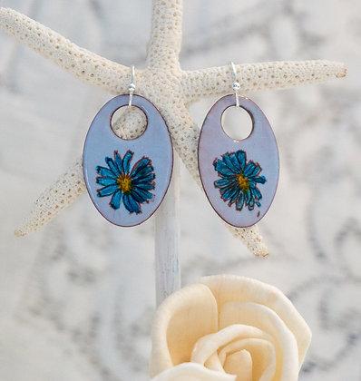 """copy of Earrings """"Wildflower on storm blue"""""""""""