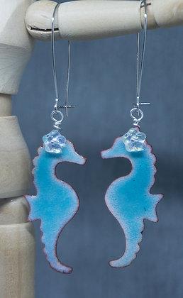 Sea Horse w/floral bead - enameled earrings