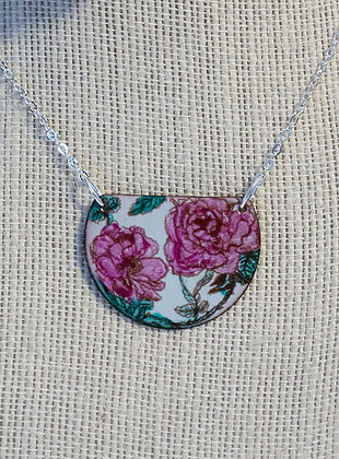 Hand-painted pink roses on bluish green 2