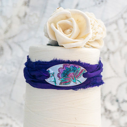 "Wrap bracelet ""Crewel flora on storm blue on purple"""