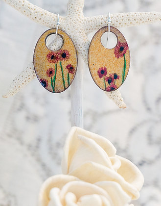 "Earring ""Wildflower on coral"""