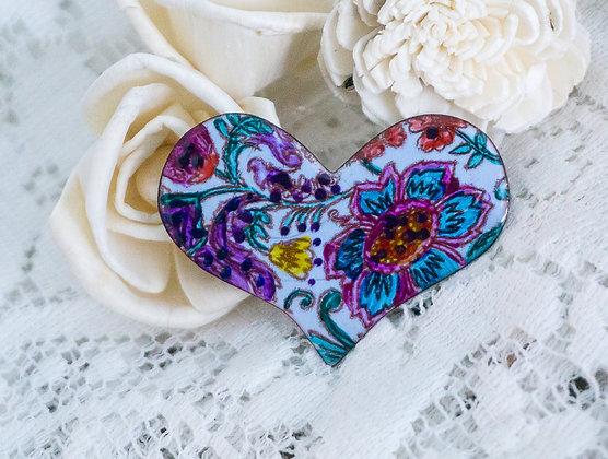 Puff heart pin - Flora on storm blue