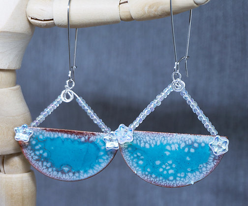 Crackle Enamel earrings w/beadwork