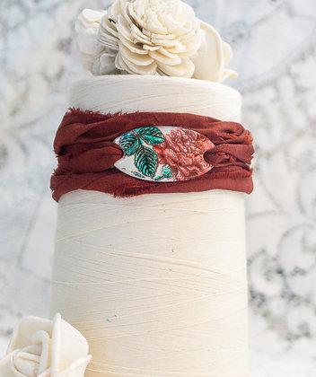 """Wrap bracelet """"Rose on cream w/sienna wrap"""""""