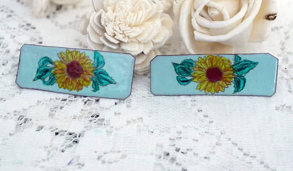 Sunflower on Mint - Barrettes