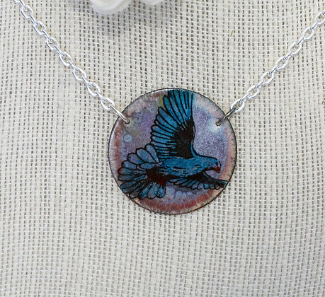 Blue bird on Multi - Necklace