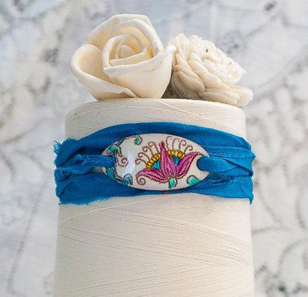 "Wrap Bracelet ""Crewel flora on cream on blue"""