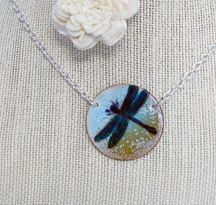 Dragonfly on Blue & Brown - Necklace