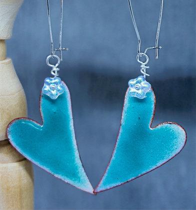 Enameled Hearts & Flowers Earrings