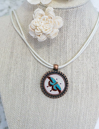 Sm. framed pendant - Butterfly on cream