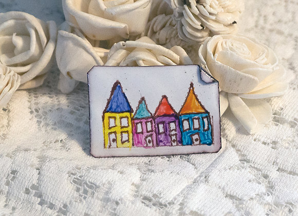 Hand-painted jewelry - Houses Pin
