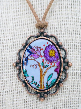 Framed pendant - Crewel bird and floral on blue