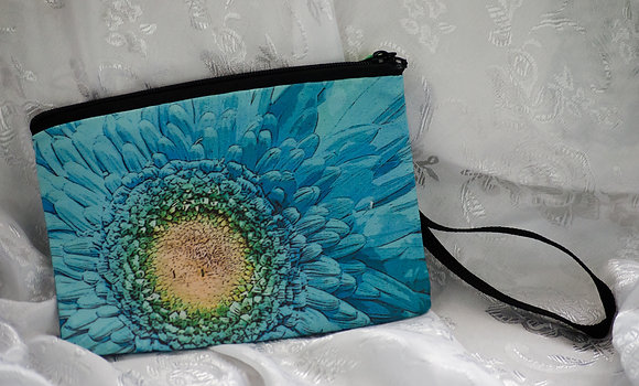 Turquoise Flower Wristlet/Cosmetic bag