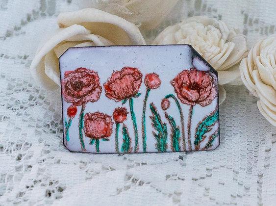 Hand-painted jewelry - Poppy Pin