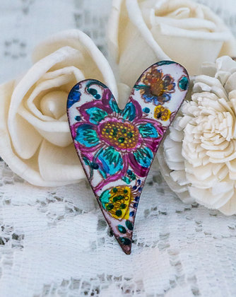 Lg. swept heart pin - Blue flora on cream