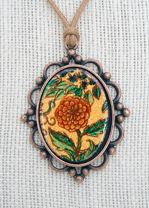 Framed pendant - Zinnia on coral